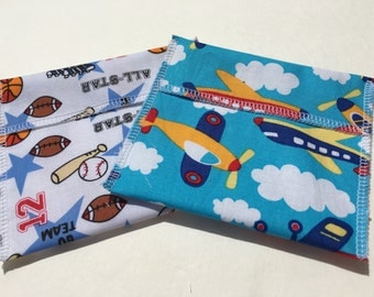 Reusable Snack Bag Set of Two Airplane Sports Eco Friendly
