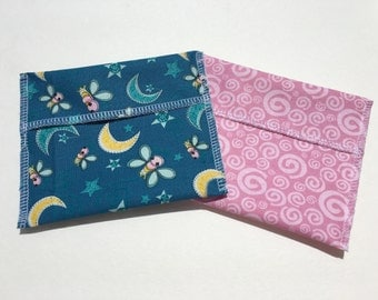 Reusable Snack Bag Set of Two Fireflies Pink Swirls Eco Friendly