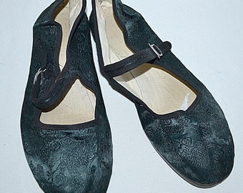 Vintage Dark Teal Blue Brocade Satin Chinese Shoes Mary Janes Sz 9 1/2 - 10