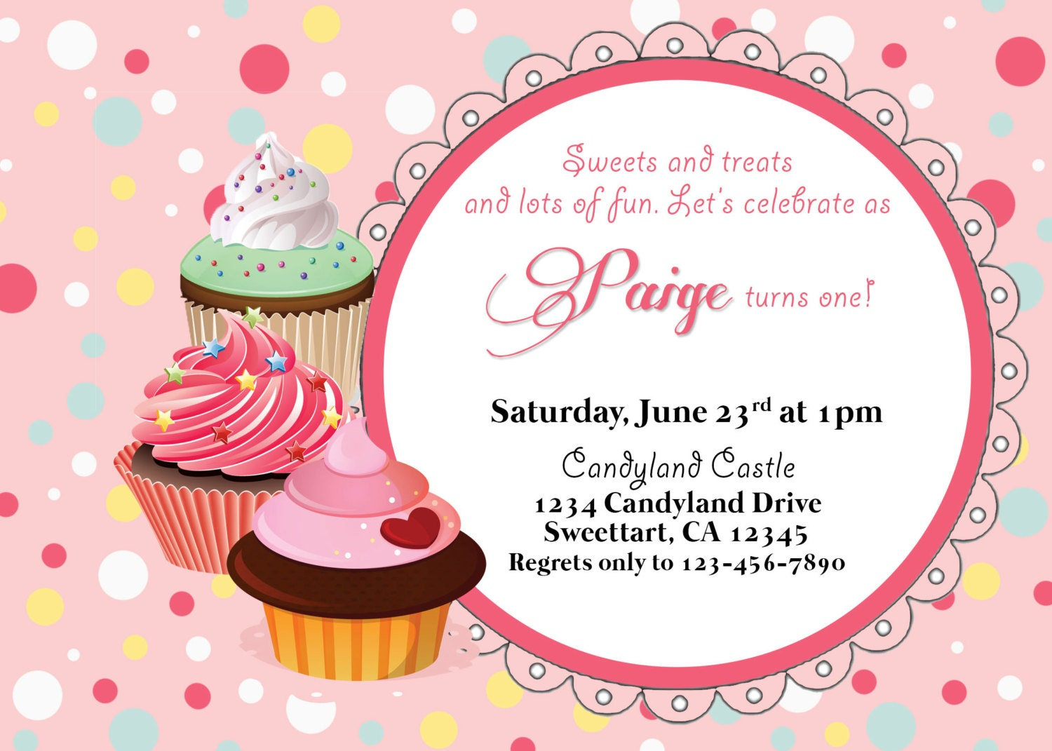 Cupcake party birthday invitation, printable, customized, tea ...