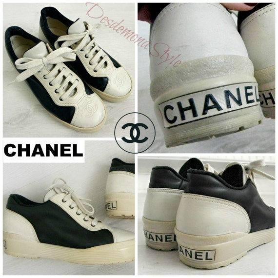 Vintage CHANEL 90s black & Ivory real Leather sneakers trainers tennis shoes platform indentification designer genuine authentic