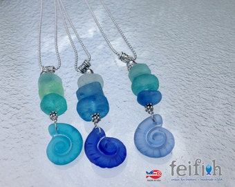 Ombre Recycled Glass Nautilus Shell Necklaces