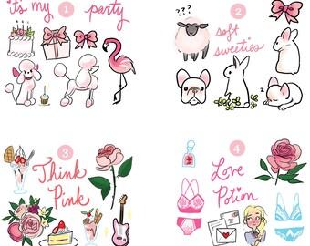 Mini Sticker Sets - Pink