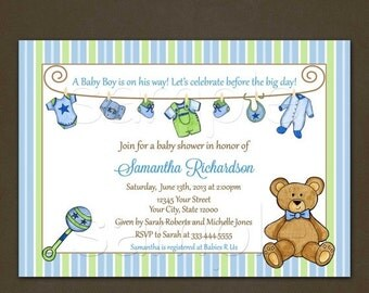 SALE Baby Laundry Clothesline Baby Shower Invitation- for Boy - Printable File-Teddy Bear-Rattle-Pink-Yellow