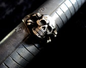 Old Skull Ring Vintage Silver 825  Size 9.5 Vintage Jewelry Pirate Biker Occult