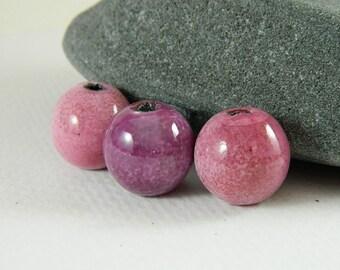 Enameled  Bead Set in Pinks