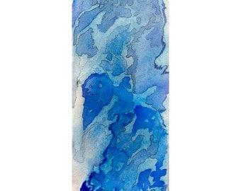 Blue abstract watercolor print, small modern wall art, Niflheim 1