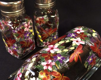 Hand Painted Glass Butter Dish Salt Pepper Shakers - Dragonflies and Posies