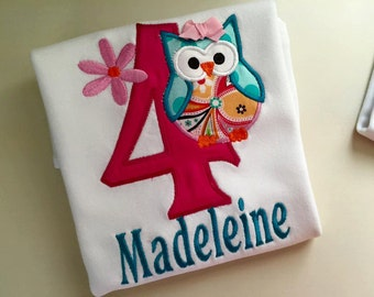 Personalized  Embroidered Applique Owl with Number and Name