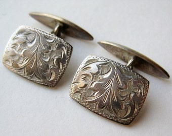 Vintage Japanese Chased 950 Sterling Silver Cufflinks Cuff Links