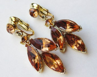 Vintage 50s Weiss Amber Gold Marquise Cut Rhinestone Drop Dangle Clip On Earrings