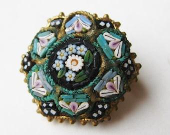 Vintage 50s Italian Murano Venetian Six Sided Micro Mosaic Art Glass Brooch Pin