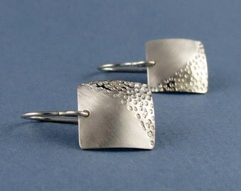 "Zen Silver Square Textured Earrings, ""Zen Square Sand Earrings"""
