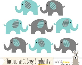 Turquoise & Grey Elephant Clipart, Turquoise Gray Nursery Decor, Teal Elephants Graphics, Teal Elephants, Commercial Use