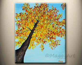 acrylic painting, wall art,home decor,looking up maple tree,Autumn,tree of life,landscape,20x24inch, on stretched canvas,ready to hang