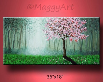 original painting contemporary wall art,cherry blossom tree of life misty forest twilight office home decor 36x18inch on canvas landscape