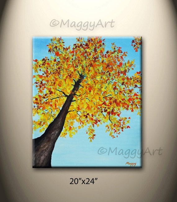 acrylic painting wall arthome decorlooking up maple