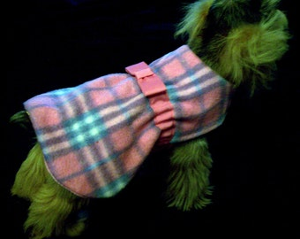 Sale 50% Off!  Ponk and Blue Plaid Fleece Dog Coat.  XXS Only