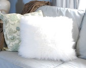 White faux fur  cushion pillow - Faux Fur cushion- white plush Decorative Pillow -  Faux Fur Pillow