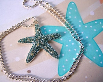 Girls Starfish Pendant Necklace Kids Crystal Pave