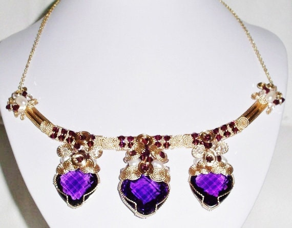 Natural 99cts 3 Heart Purple Amethyst gemstones, Swarovski Crystals, 14kt yellow gold Necklace