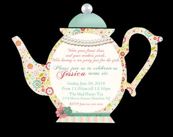DIY Printable Personalized  teapot invitation, high tea invite, diy print cut out tea invitation, teapot party invitation,tea party invite