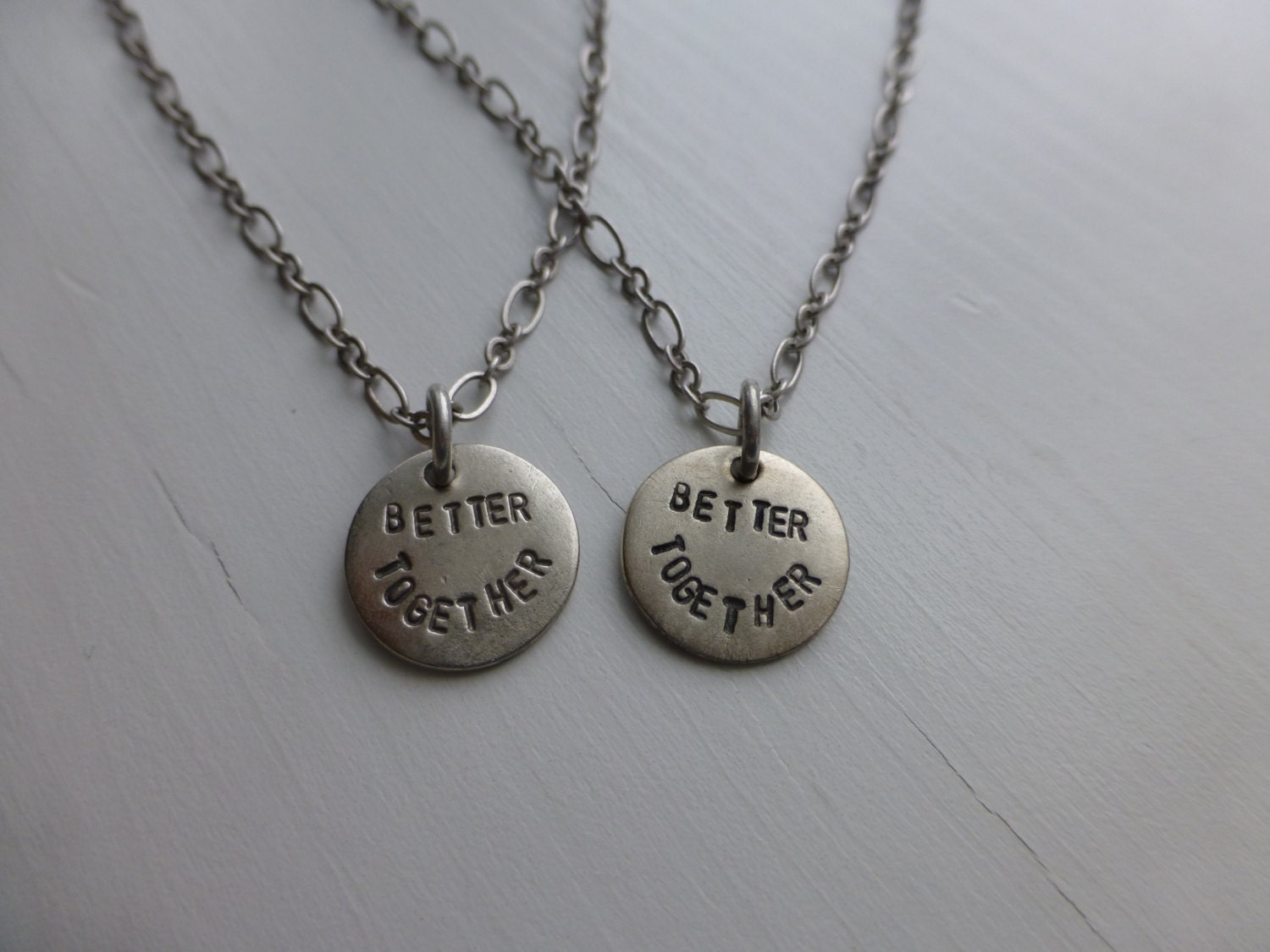 hand stamped couples matching necklaces better together gay