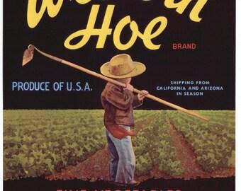 1940s Western Hoe Young Farmer Boy Vegetable Crate Label Original DW Henning Salinas CA