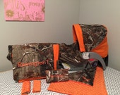 6 Piece Set Realtree CAMO fabric and orange infant Car Seat Cover, and Diaper Bag & wipes case, Huggy Blanket and tent/canopy