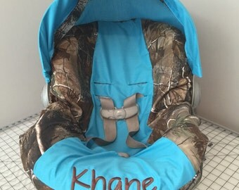 3 Piece Set REALTREE CAMO fabric  & TURQUOIS blue infant Car Seat Cover with Canopy/Visor and Diaper Bag  and Huggy Blanket with Free name