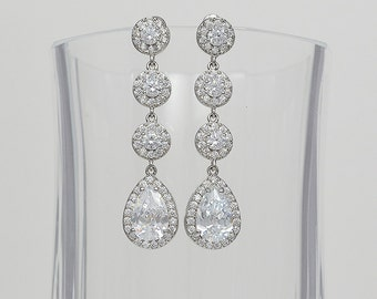 Bridal Cubic Zirconia Crystal Earrings, Long Tear Drop Stud Earrings, Sara, Silver Tone - Ships in 1 Business Day