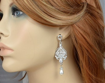 Bridal Vintage Style Chandelier Filigree Stud Earrings with Swarovski Crystals and Pearls, Leah - Ships in 1-3 Business Days