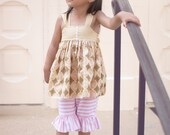 Girls Knot Top or Dress Blush Collection shown with optional Ruffed Knit Legging Capris Toddler Infant Girls