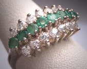 Antique Emerald White Sapphire Wedding Ring Band Vintage Art Deco
