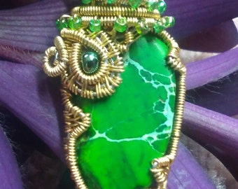 Gift for Her, Green and Brass Jungle Pendant