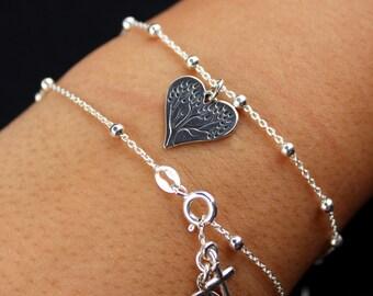 Customized Family Tree Heart Bracelet - Sterling Silver - Friendship, Personalized, Initial Bracelet, Tree of Life, Mom, Dainty Jewelry
