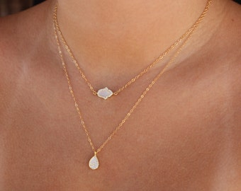 Hamsa - Mother of Pearl Pave Hamsa Necklace - Dainty Necklace made with 14k Gold Fill or Sterling Silver Perfect Layering Necklace, Gifts