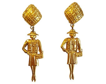 Madame Coco Chanel HUGE Statement Earrings