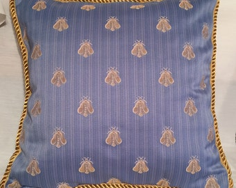 French Country Romantic Cottage Pillow Blue Gold Bumble Bee Garden Paris