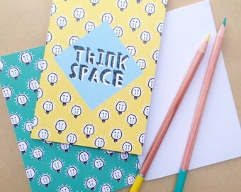 Think Space quirky illustrated pocket A6 notebook - yellow light bulb pattern - stocking filler /stuffer