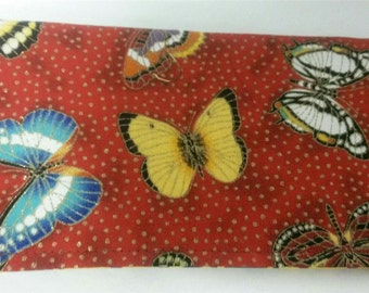 Checkbook Cover Coupon Document Holder Ladies Clutch Bag Purse Beautiful Red Gold Colors Butterflies