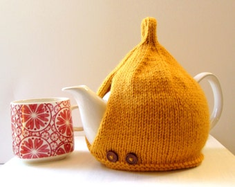 Tea Cosy in Mustard Aran Wool