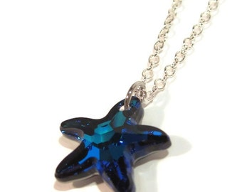 Swarovski Crystal Bermuda Blue Starfish Pendant with Silver Chain