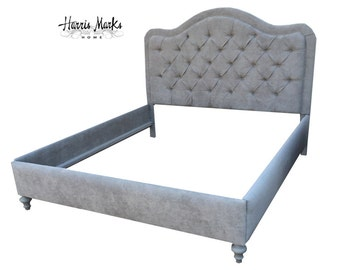 headboard bed tufted rails foot side extra footboard tall fabric button gray trim king