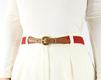 VINTAGE Red Belt Fabric Leather Brass