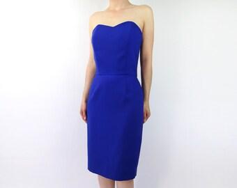 VINTAGE Strapless Sweetheart Dress Blue Peplum