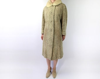VINTAGE Persian Lamb Coat Blonde 1950s Fur Collar