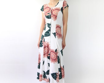 VINTAGE 1990s Floral Dress White Pink Maxi