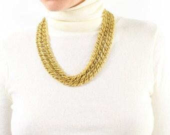 VINTAGE 1980s Gold Chain Necklace Triple