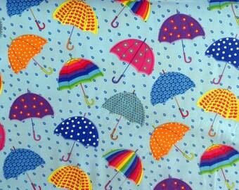 Umbrella Fabric Multi-Colored Umbrella Material Cotton Fabric Rainbow Umbrellas Sewing Fabric Quilting Fabric Craft Supplies